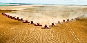 industrial plowing of a field